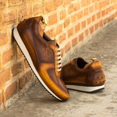 Custom Made Men's Corsini Joggers in Italian Raw Crust Leather with a Cognac and Brown Hand Patina