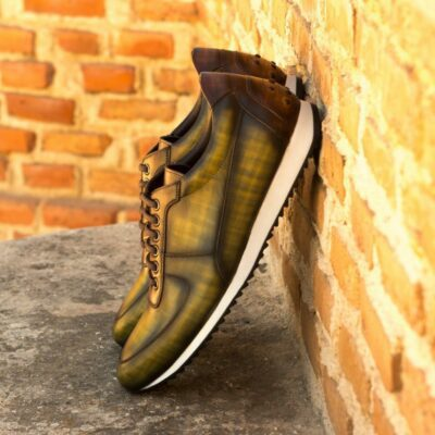 Custom Made Men's Corsini Joggers in Italian Raw Crust Leather with a Khaki and Brown Hand Patina