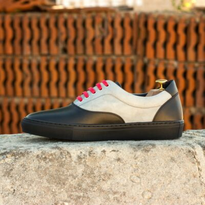 Custom Made Men's Cupsole Top Sider in Black Painted Calf with Light Grey Kid Suede