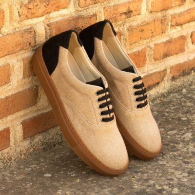 Custom Made Men's Cupsole Top Sider in Tan and Black Linen