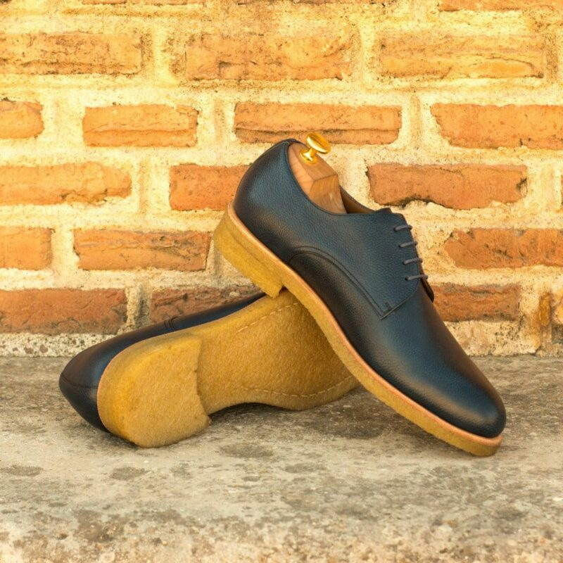 Custom Made Men's Derby in Navy Blue Painted Full Grain Leather with Crepe Sole