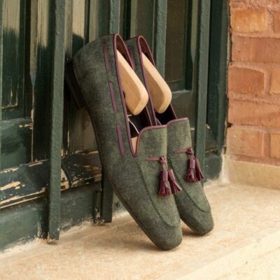 Custom Made Men's Drake Slippers in Camo Flannel with Oxblood Nappa Leather