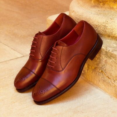 Custom Made Men's Goodyear Welt Oxford in Burgundy Painted Calf and Full Grain Leather