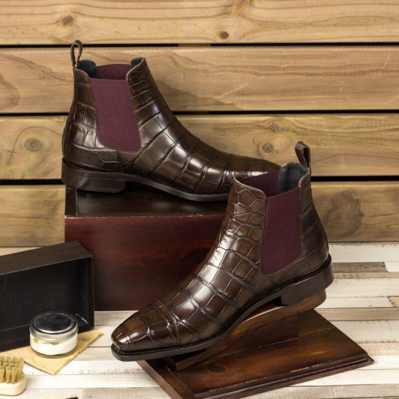 Custom Made Men's Goodyear Welted Chelsea Boot Classic in Dark Brown Genuine Alligator