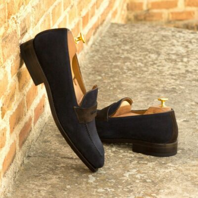 Custom Made Men's Goodyear Welted Loafers in Navy Blue and Dark Brown Luxe Suede