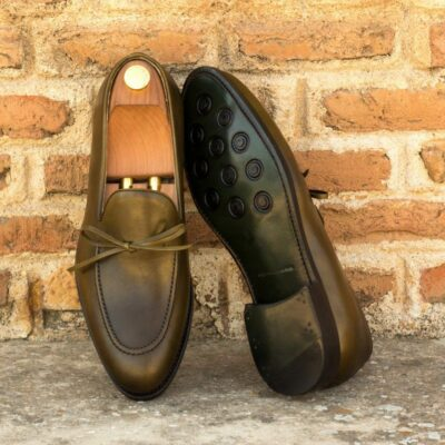 Custom Made Men's Goodyear Welted Loafers in Olive Green Painted Calf Leather