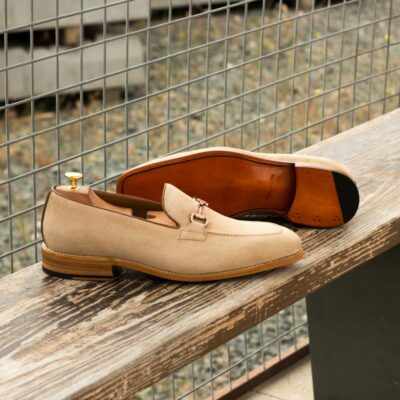 Custom Made Men's Goodyear Welted Loafers in Taupe Kid Suede with Medium Brown Box Calf