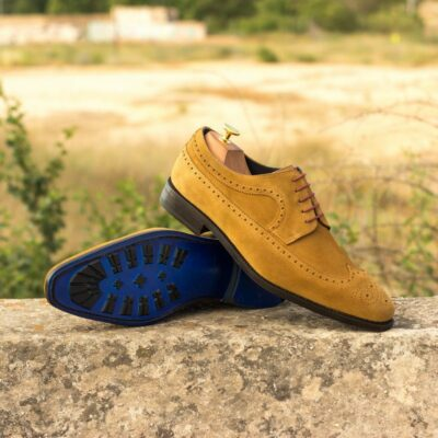 Custom Made Men's Goodyear Welted Longwing Blucher in Camel Luxe Suede