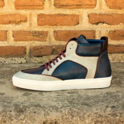 Custom Made Men's High Top Multi in Navy Blue Painted Calf and Light Grey Kid Suede with Burgundy Painted Calf