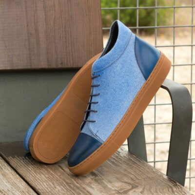 Custom Made Men's High Top in Blue Linen and Navy Blue Polished Calf Leather