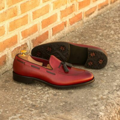Custom Made Men's Loafer Golf Shoes in Red Full Grain Leather and Black Pebble Grain Leather with Softspikes®