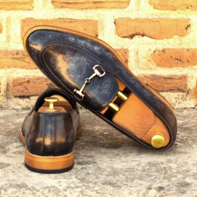 Custom Made Men's Loafers in Italian Calf Leather with Grey Hand Patina