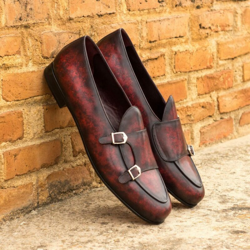 Custom Made Men's Monk Slippers in Italian Calf Leather with a Burgundy Hand Patina