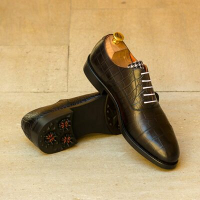 Custom Made Men's Oxford Golf Shoes in Black Croco Embossed Calf with Houndstooth