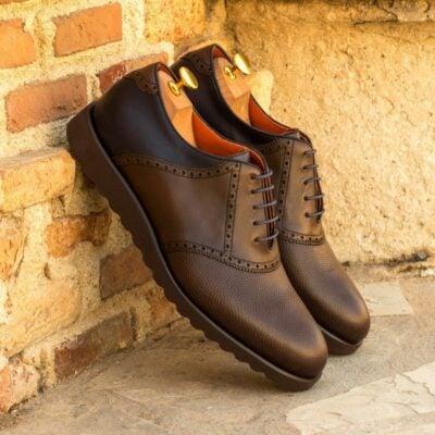 Custom Made Men's Saddle Shoes in Dark Brown Box Calf and Pebble Grain with Navy Blue Box Calf