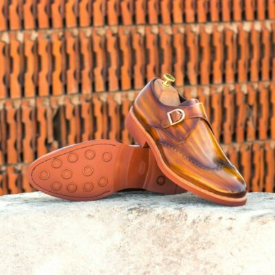 Custom Made Men's Single Monks in Italian Calf Leather with a Cognac Hand Patina