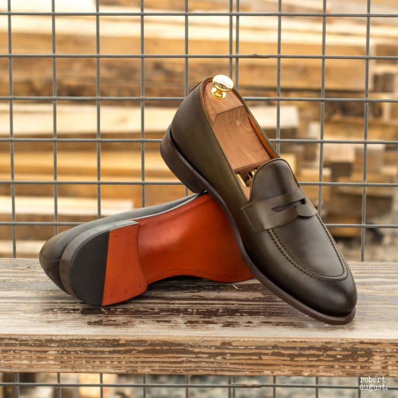 Custom Made Tassel Loafers in Olive Painted Calf