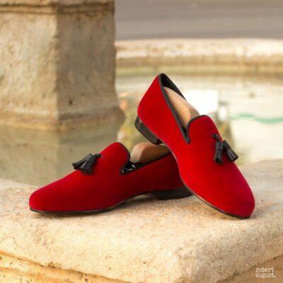 Custom Made Wellington Slippers in Red Velvet with Black Grosgrain