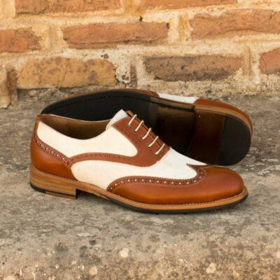 Custom Made Women's Full Brogues in Cognac Box Calf and Ivory Kid Suede