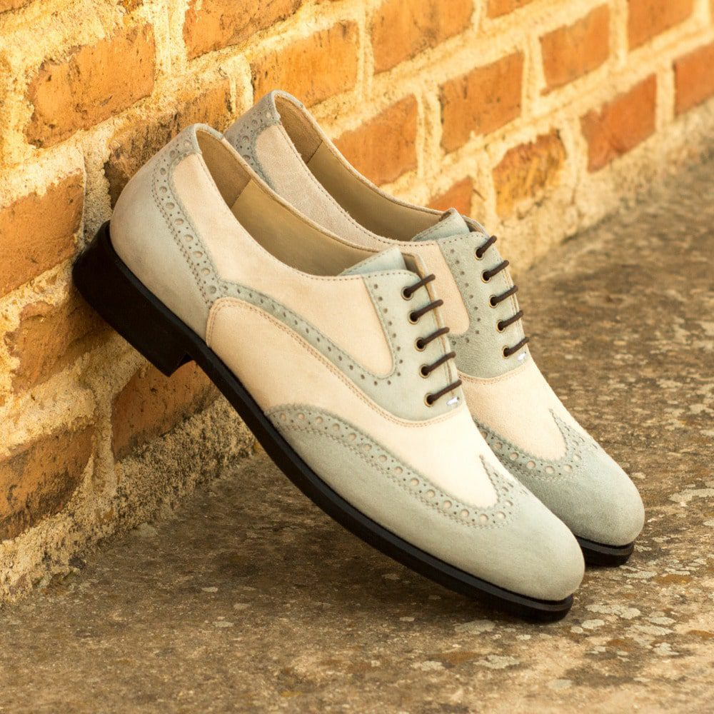 Custom Made Women's Full Brogues in Light Grey and Ivory Kid Suede