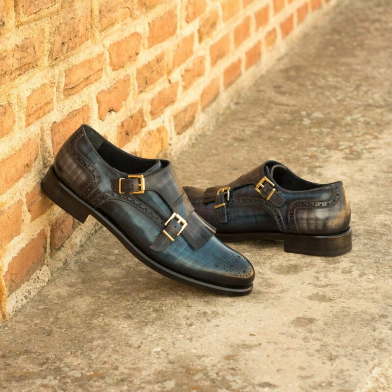 Custom Made Women's Kiltie Monkstrap in Italian Calf Leather with a Denim and Grey Hand Patina