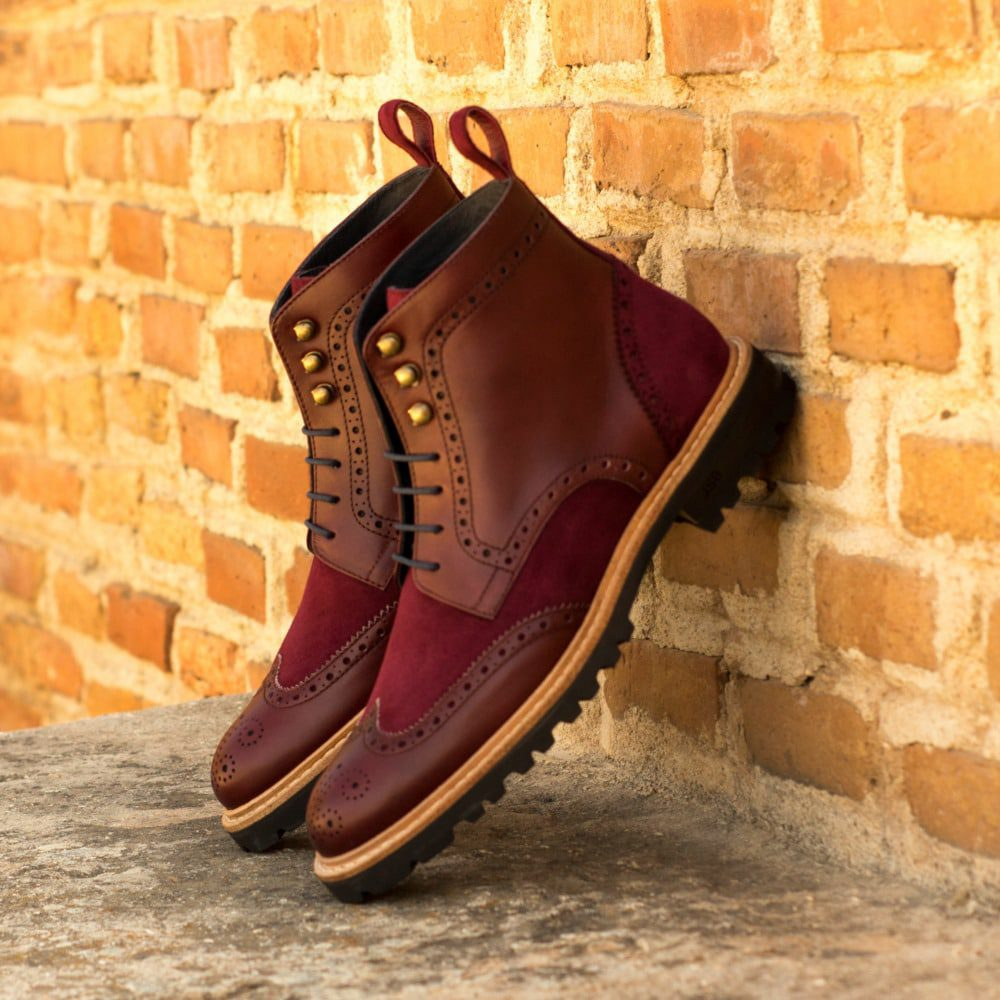 Custom Made Women's Military Brogue Boot in Burgundy Box Calf with Wine Kid Suede and Burgundy Painted Calf