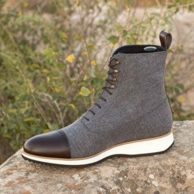Custom Made Balmoral Boot in Light Grey Flannel and Dark Brown Box Calf