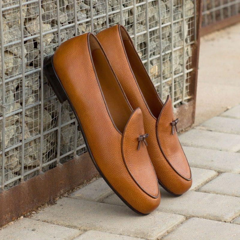 Custom Made Belgian Slippers in Cognac and Dark Brown Full Grain Leather