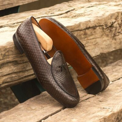 Custom Made Belgian Slippers in Dark Brown Genuine Python with Black Painted Calf