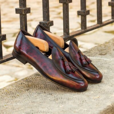 Custom Made Belgian Slippers in Italian Raw Crust Leather with a Burgundy Hand Patina