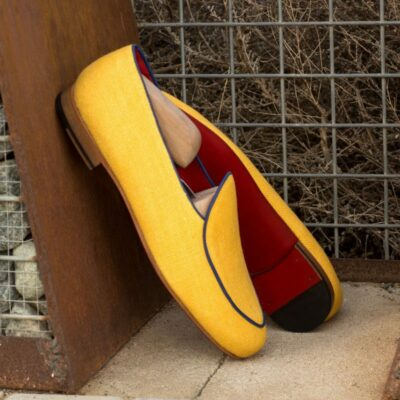 Custom Made Belgian Slippers in Mustard Linen with Navy Blue Painted Calf