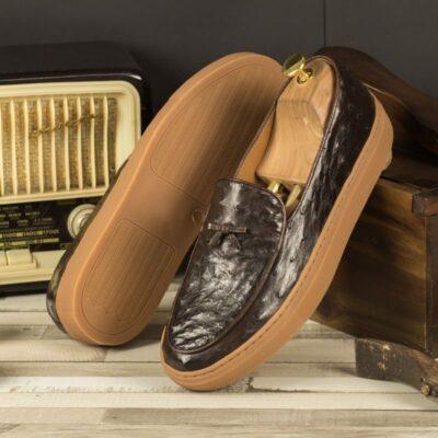 Custom Made Belgian Sneaker in Dark Brown Genuine Ostrich with Dark Brown Full Grain Leather