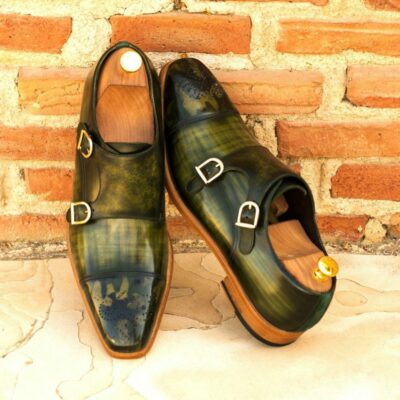 Custom Made Double Monks in Italian Calf Leather with a Khaki Hand Patina with Forest Green Kid Suede