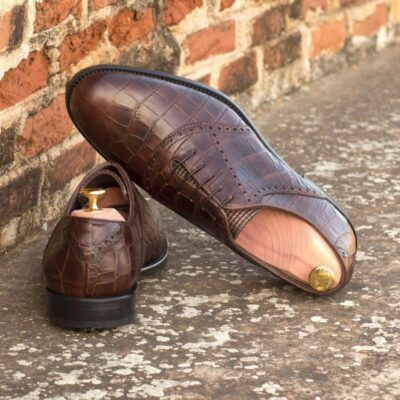 Custom Made Golf Saddle Shoes in Brown Croco Embossed Calf with Tweed featuring Softspikes®