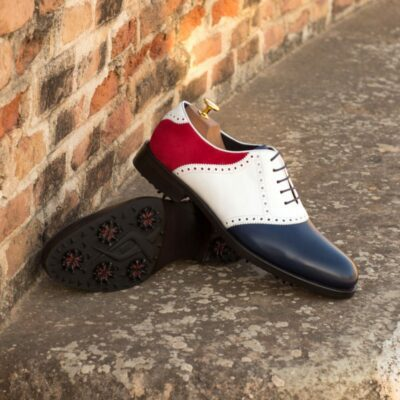 Custom Made Golf Saddle Shoes in Navy Blue Painted Calf, White Box Calf and Red Kid Suede featuring Softspikes®