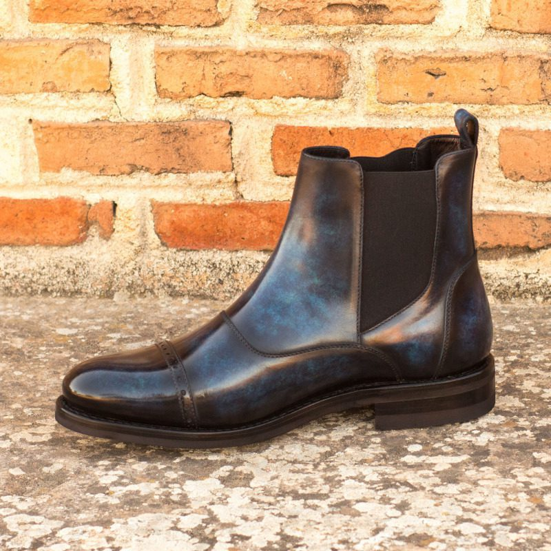 Custom Made Goodyear Welted Chelsea Boot Multi in Italian Raw Crust Leather with a Denim Blue Hand Patina