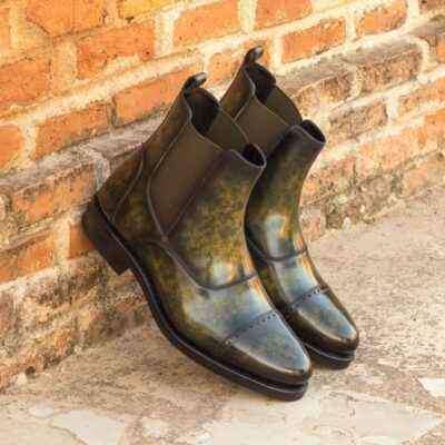 Custom Made Goodyear Welted Chelsea Boot Multi in Italian Raw Crust Leather with a Khaki Hand Patina