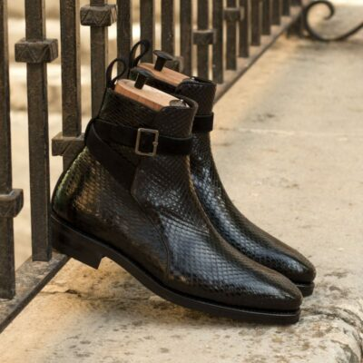 Custom Made Goodyear Welted Jodhpur Boot in Black Genuine Python with Black Luxe Suede
