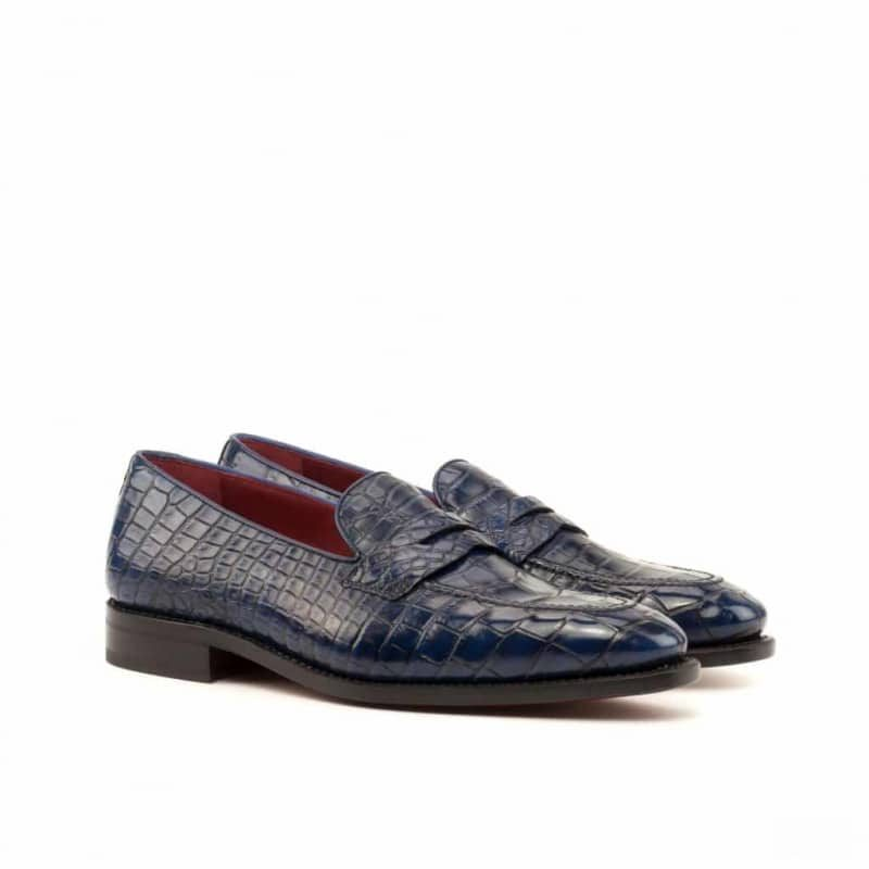 Custom Made Goodyear Welted Loafers in Navy Blue Genuine Alligator
