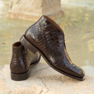 Custom Made Goodyear Welted Men's Chukka Boots in Dark Brown Genuine Alligator
