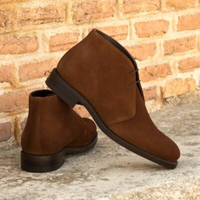 Custom Made Goodyear Welted Men's Chukka Boots in Medium Brown Luxe Suede