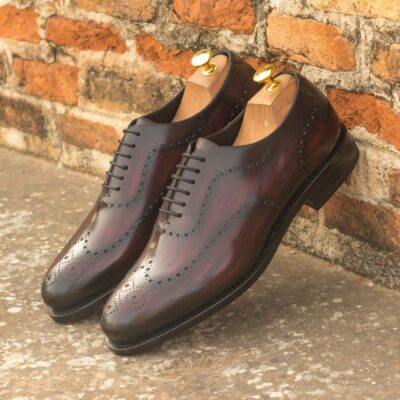 Custom Made Goodyear Welted Whole Cut Dress Shoes in Italian Raw Crust Leather with a Burgundy Hand Patina