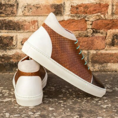 Custom Made High Top in Cognac and Grey Genuine Python with White Box Calf and Kid Suede