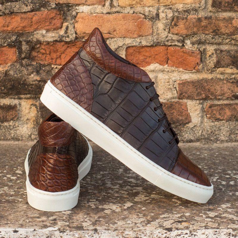 Custom Made High Top in Medium and Dark Brown Genuine Alligator