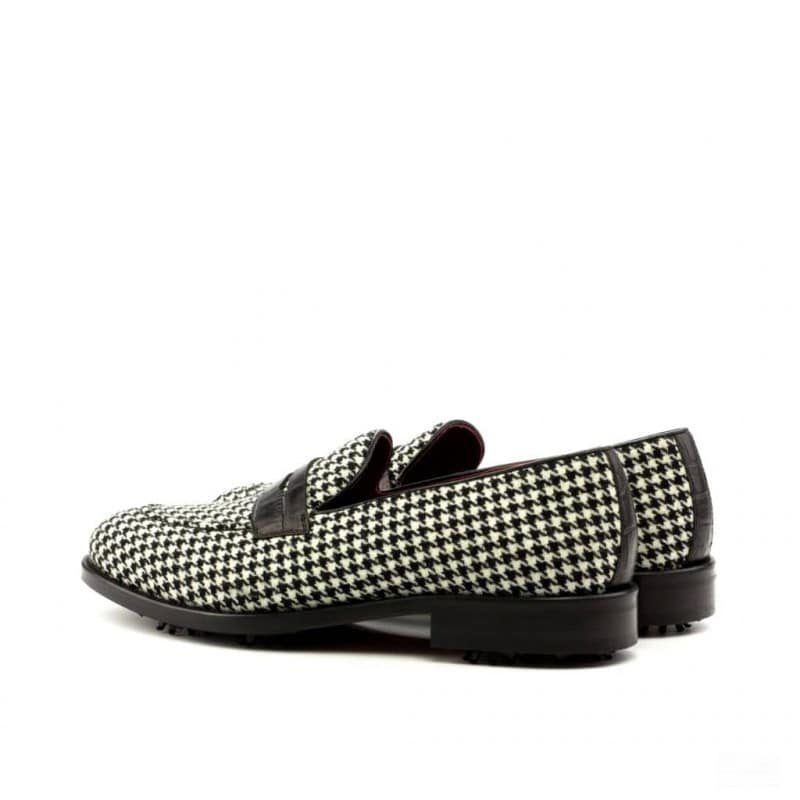 Custom Made Loafer Golf Shoes in Houndstooth and Black Croco with Softspikes®