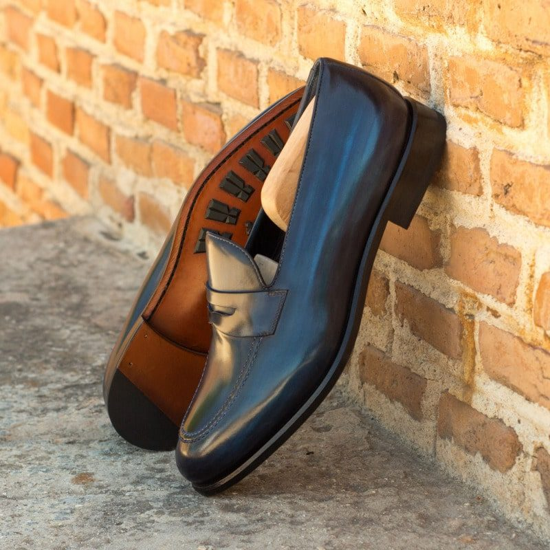 Custom Made Loafers in Italian Raw Crust Leather with Denim Blue and Grey Hand Patina