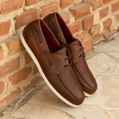 Custom Made Men's Boat Shoe in Medium Brown Painted Full Grain Leather