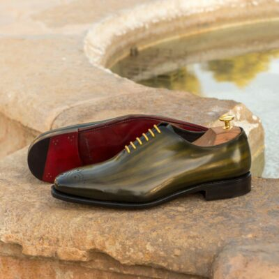 Custom Made Men's Goodyear Welt Wholecut Dress Shoes in Italian Calf Leather with a Khaki Hand Patina Finish