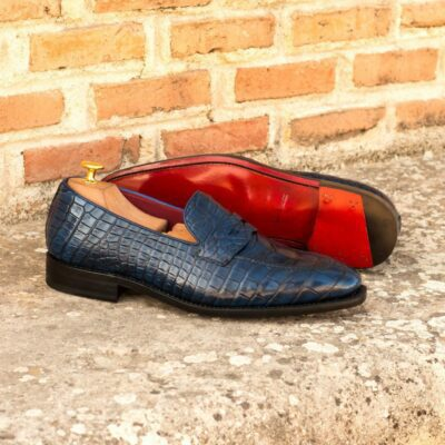 Custom Made Men's Goodyear Welted Loafers in Navy Blue Genuine Alligator