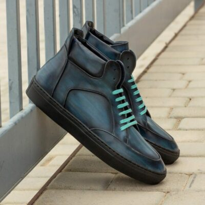 Custom Made Men's High Top Multi in Italian Calf Leather with a Denim Blue Hand Patina
